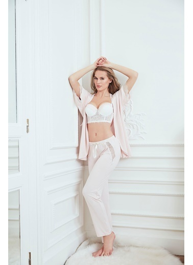 Anıl Kadın Pijama Pamuklu Dantelli Sabahlıkbüstiyer Pantolon Pudra
